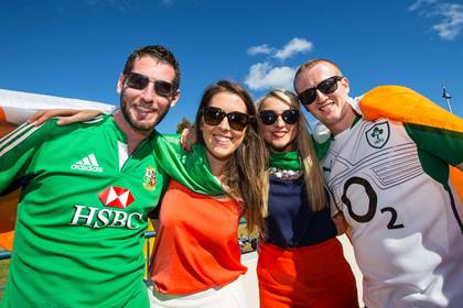 Stephen Murphy, Celine Mangan, Jenna Moriarty, and Andrew Moriarty cheering on Ireland at Patersons Stadium.<br />&#169;INPHO.