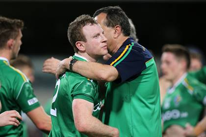 Ireland&#39;s Colm Boyle and manager Paul Earley after the game.<br />&#169;INPHO/Cathal Noonan.