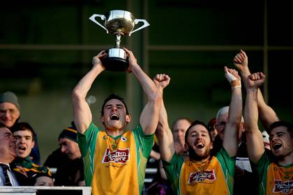Corofin are Connacht club SFC champions for a sixth time. Michael Farragher lifts the trophy at MacHale Park.<br />&#169;INPHO/James Crombie.