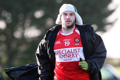 Derry&#39;s Oisin Duffy warms up against Queen&#39;s in the McKenna Cup.<br />&#169;INPHO/Presseye/Lorcan Doherty.