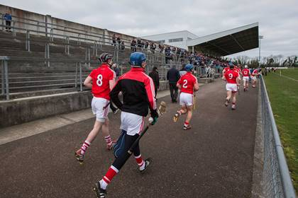 Cork players make their way back from the warm up before the Waterford Crystal Cup semi-final against Clare in Mallow.<br />&#169;INPHO/Ryan Byrne.