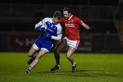 Tyrone's Ronan McNabb and Darren Hughes of Monaghan during the FL Division 1 clash at Healy Park, Omagh. ©INPHO/Presseye/Russell Pritchard.