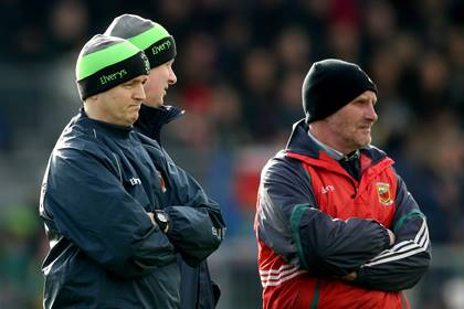 Mayo joint managers Pat Holmes and Noel Connelly with selector Michael Collins. <br />&#169;INPHO/James Crombie.