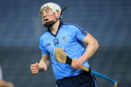 Dublin&#39;s Liam Rushe celebrates after scoring a goal in the Walsh Cup final.<br />&#169;INPHO/Cathal Noonan.