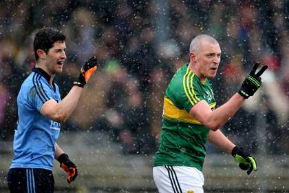 Kerry&#39;s Kieran Donaghy and Rory O&#39;Carroll of Dublin when both sides met in the FL at Fitzgerald Stadium, Killarney in March.<br />&#169;INPHO/Cathal Noonan.