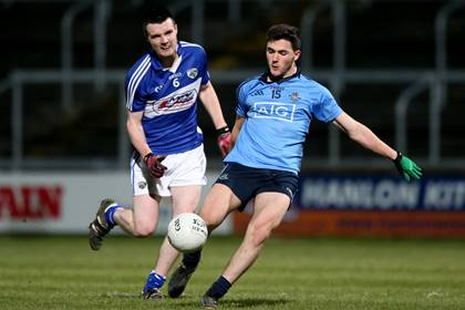 Laois&#39; Conor Hogan and Colm Basquel of Dublin during the Leinster U21FC quarter-final at O&#39;Moore Park, Portlaoise.<br />&#169;INPHO/James Crombie.