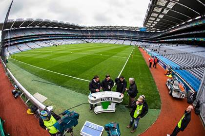 General view of TG4 preparing to go on air before the FL Division 1 semi-final double-header at Croke Park.<br />&#169;INPHO/Cathal Noonan.