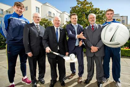 Galway footballer Tom Flynn, John Treacy, Chief Executive, Irish Sports Council, Michael Ring, T.D., Dessie Farrell, Kieran Mulvey, Chairman, Irish Sports Council and Waterford hurler Pauric Mahony  ©INPHO/Morgan Treacy