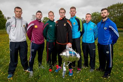 At the launch of the 2015 Leinster SHC, l/r: Offaly's Dan Currams, Derek McNicholas of Westmeath, Paul Coady of Carlow, Joey Holden of Kilkenny, Andrew Shore of Wexford, John McCaffrey of Dublin and Eoin Reilly of Laois ©INPHO/Ryan Byrne