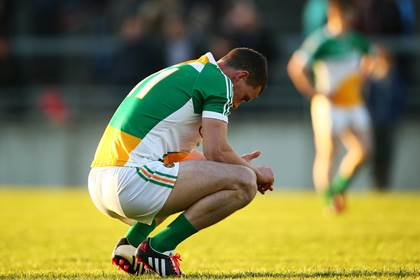 A dejected Niall McNamee of Offaly after the Leinster SFC defeat to Longford at O&#39;Connor Park, Tullamore.<br />&#169;INPHO/Cathal Noonan.
