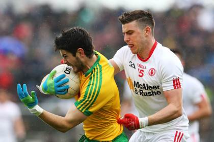 Donegal&#39;s Ryan McHugh is tackled by Conor McAliskey of Tyrone during the Ulster SFC preliminary round tie in Ballybofey.<br />&#169;INPHO/Cathal Noonan.