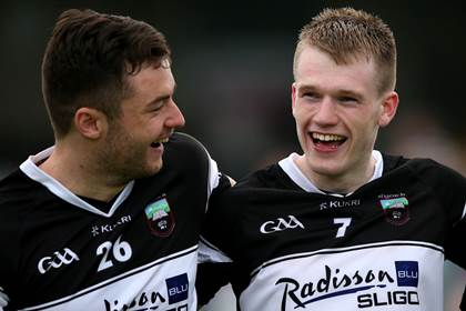 Sligo&#39;s Darragh MacConnan and Eoin Flanagan celebrate after the Connacht SFC semi-final win over Roscommon at Markievicz Park.<br />&#169;INPHO/James Crombie.