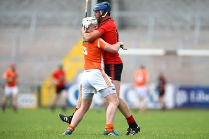 Armagh&#39;s Nathan Curry with Gareth Johnston of Down during the Ulster SHC quarter-final at the Athletic Grounds.<br />&#169;INPHO/Presseye/William Cherry.