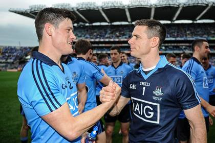 Dublin&#39;s Diarmuid Connolly and Stephen Cluxton celebrate after the Leinster SFC final.<br />&#169;INPHO/Tommy Grealy.