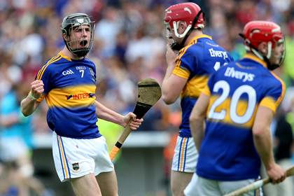 Tipperary&#39;s Darragh Peters celebrates.<br />&#169;INPHO/Ryan Byrne.