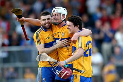 Clare&#39;s Conor Cleary celebrates with Brian Carey and Diarmuid Moloney after the Munster U21HC semi-final win over Waterford.<br />&#169;INPHO/James Crombie.