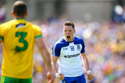 Monaghan&#39;s Conor McManus celebrates scoring a point.<br />&#169;INPHO/Cathal Noonan.
