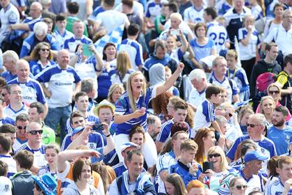 Monaghan fans at the end of the Ulster SFC final.<br />&#169;INPHO/Presseye/Andrew Paton.