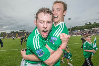 Fermanagh&#39;s Declan McCusker and Che Cullen celebrate.<br />&#169;INPHO/James Crombie.