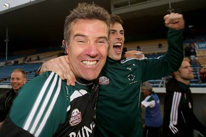 Kildare manager Jason Ryan celebrates the All-Ireland SFC Qualifiers Round 4A win over Cork at Semple Stadium.<br />&#169;INPHO/Donall Farmer.