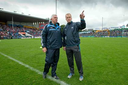 Dublin manager Ger Cunningham with selector Gearoid O&#39;Riain before the All-Ireland quarter-final versus Waterford at Semple Stadium, Thurles.<br />&#169;INPHO/Morgan Treacy.
