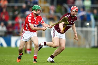 Cork&#39;s Daniel Kearney and Joe Canning of Galway during the All-Ireland SHC quarter-final.<br />&#169;INPHO/Cathal Noonan.