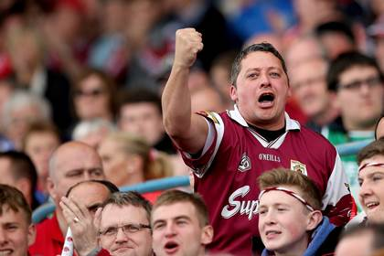 Galway fans celebrate during the All-Ireland SHC quarter-final against Cork at Semple Stadium.<br />&#169;INPHO/Luke Duffy.