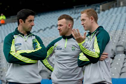 Aidan O&#39;Mahony, Barry John Keane and Colm Cooper before the All-Ireland SFC quarter-final game against Kildare.<br />&#169;INPHO/Cathal Noonan.