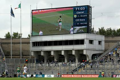 The final score in the All-Ireland SFC quarter-final between Kerry and Kildare as seen on the big screen.<br />&#169;INPHO/Donall Farmer.