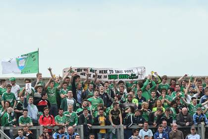 Fermanagh fans on Hill 16 for the All-Ireland SFC quarter-final versus Dublin.<br />&#169;INPHO/James Crombie.
