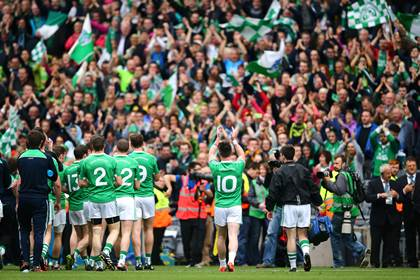 Fermanagh players applaud their supporters after the All-Ireland SFC quarter-final defeat to Dublin.<br />&#169;INPHO/Cathal Noonan.