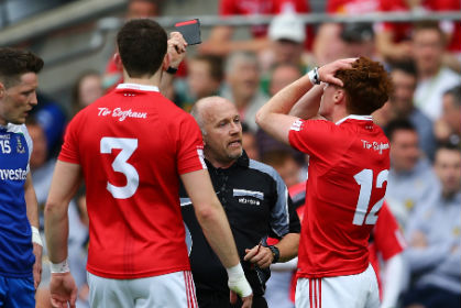 Tyrone's Conor Meyler is stunned by the decision of referee Marty Duffy to issue him with a black card ©INPHO/Cathal Noonan