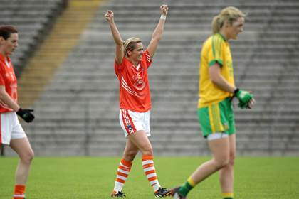 Armagh&#39;s Sinead McCleary celebrates the final whistle of the All-Ireland SFC quarter-final against Donegal.<br />&#169;INPHO/Morgan Treacy.
