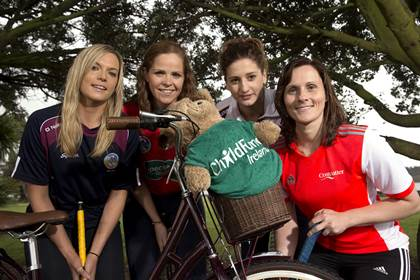 Camogie stars on their bikes for ChildFund Ireland: Pictured (L-R) at the announcement that the Camogie Association are partnering with ChildFund Ireland was Sarah Dervan from Galway, Fionnuala Carr from Down, Mags D&#39;Arcy from Wexford and Aoife Murray from Cork.<br />&#169;INPHO/Billy Stickland.