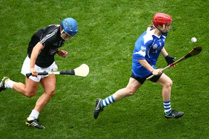 Waterford&#39;s Lorraine Bray and Angela Lyons of Kildare.<br />&#169;INPHO/Cathal Noonan.