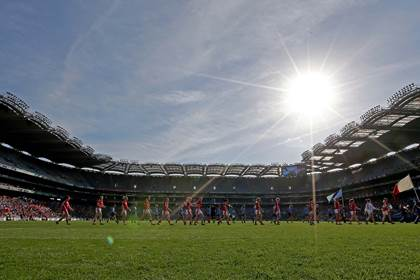 A view of the team parade before the All-Ireland SFC ladies final.<br />&#169;INPHO/Donall Farmer.
