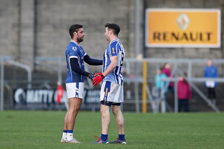 St Loman&#39;s Paul Sharry and Michael Darragh Macauley of Ballyboden St Enda&#39;s.<br />&#169;INPHO/Ryan Byrne.