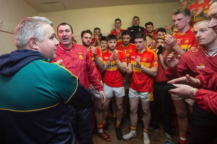 Corofin manager Stephen Rochford congratulates Castlebar.<br />&#169;INPHO/James Crombie.