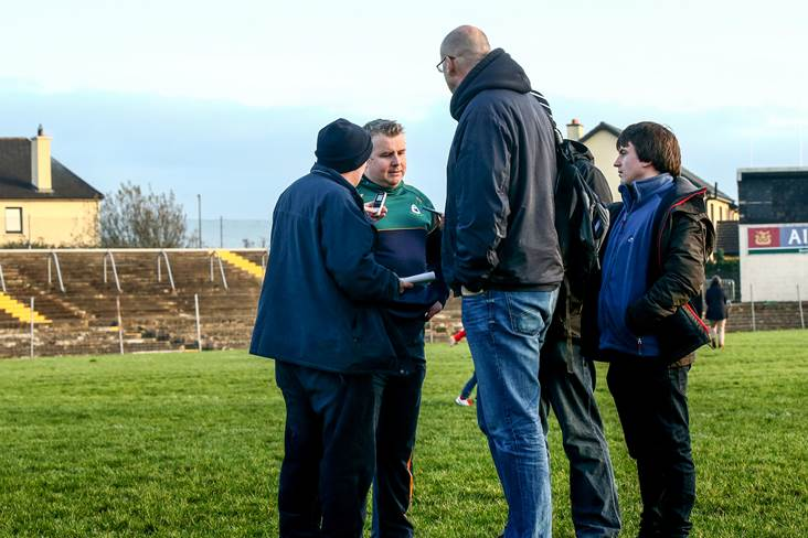 Corofin manager Stephen Rochford speaks to the media.<br />&#169;INPHO/James Crombie.