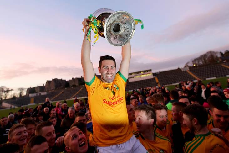 South Kerry captain Bryan Sheehan with the cup.<br />&#169;INPHO/Donall Farmer.