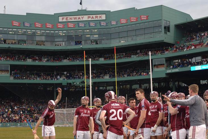 The Galway players warm up before the Fenway Classic.<br />&#169;INPHO/Emily Harney.