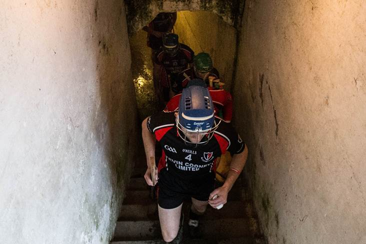 Barry Kehoe of Oulart The Ballagh leads out his team.<br />&#169;INPHO/Cathal Noonan.