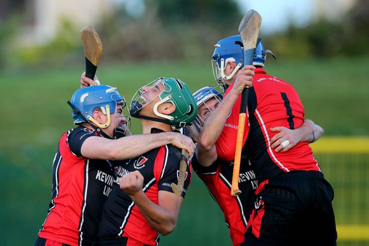 Oulart-The Ballagh&#39;s Dennis Morton, Keith Rossiter, Barry Kehoe and goalkeeper Conor O&#39;Leary celebrate.<br />&#169;INPHO/Cathal Noonan.