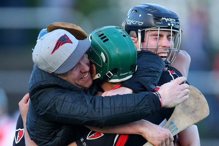 Oulart-The Ballagh&#39;s Keith Rossiter celebrates with supporters and team mates.<br />&#169;INPHO/Cathal Noonan.