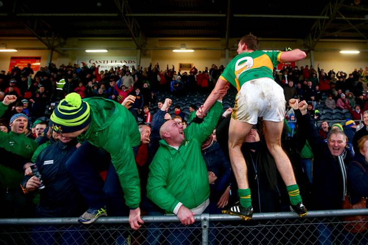 Clonmel&#39;s Aldo Matassa celebrates with fans in the stand after the Munster club SFC final.<br />&#169;INPHO/James Crombie.