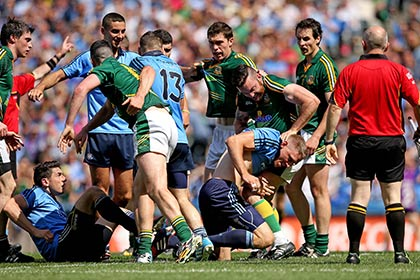 Tempers flare during the Leinster SFC final. INPHO