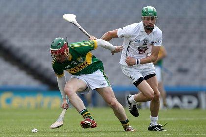 Kerry&#39;s Sean Weir and Bernard Deay of Kildare during the 2014 Christy Ring Cup final at Croke Park.<br />&#169;INPHO