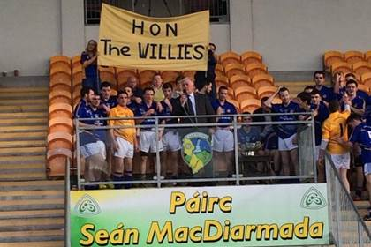 &#39;Hon The Willies&#39; Aughawillan are the Leitrim SFC champions for the first time since 1994.<br />Pic via Donal Keane @DonieKeane.