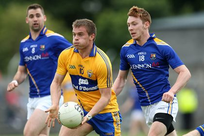 Clare&#39;s Sean Collins and Cian Farrelly of Longford<br />&#169;INPHO