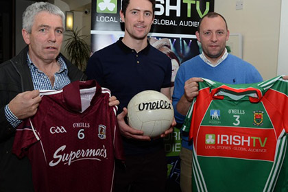 Stephen Joyce Galway selector, Ruaidhri O' Connor Irish TV presenter, and Kenneth Mortimer, at a press reception in the Clew Bay Hotel Westport to launch the Gaelic Masters association football final to be broadcast live on Irish TV on November 1st,